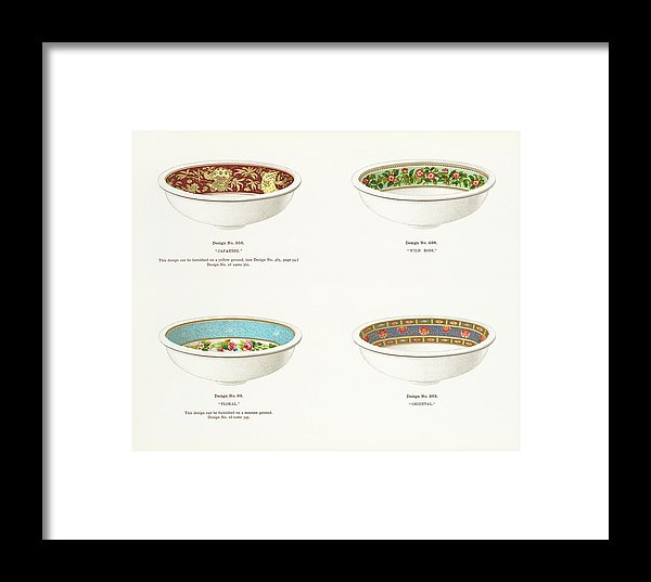 Antique Illustration of Decorative Bowls From 1884, 3 of 4 Set - Framed Print from Wallasso - The Wall Art Superstore