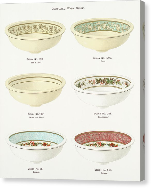 Antique Illustration of Decorative Bowls From 1884, 4 of 4 Set - Canvas Print from Wallasso - The Wall Art Superstore