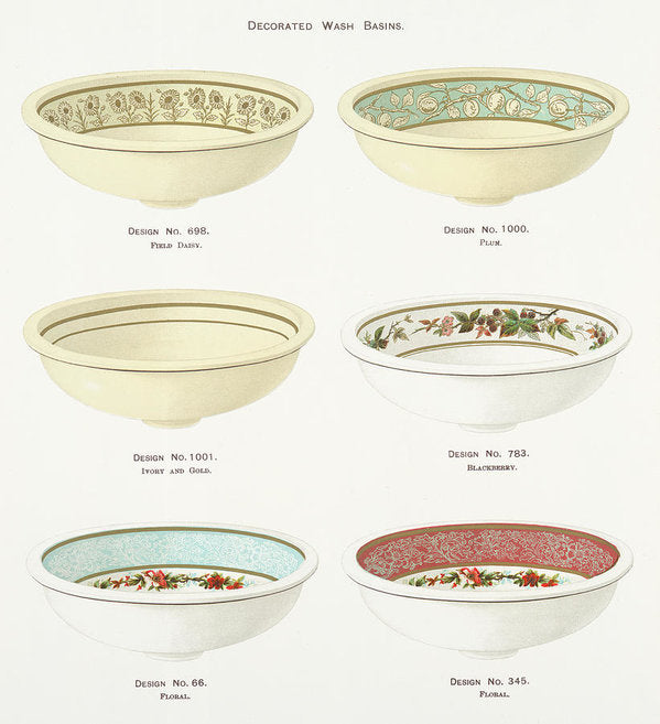 Antique Illustration of Decorative Bowls From 1884, 4 of 4 Set - Art Print from Wallasso - The Wall Art Superstore