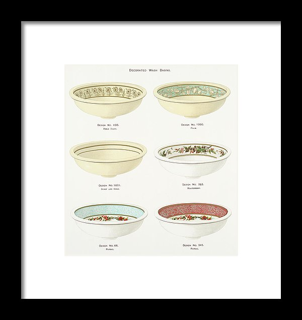 Antique Illustration of Decorative Bowls From 1884, 4 of 4 Set - Framed Print from Wallasso - The Wall Art Superstore