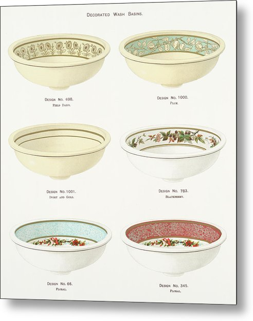 Antique Illustration of Decorative Bowls From 1884, 4 of 4 Set - Metal Print from Wallasso - The Wall Art Superstore