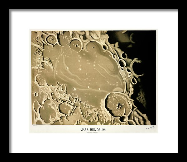 Antique Illustration of Lunar Impact Crater, 1881 - Framed Print from Wallasso - The Wall Art Superstore