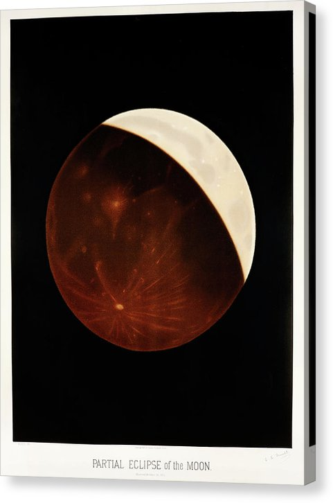 Antique Illustration of Partial Eclipse of The Moon, 1881 - Canvas Print from Wallasso - The Wall Art Superstore