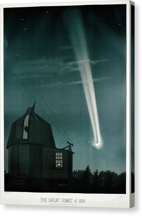 Antique Illustration of The Great Comet of 1881 - Canvas Print from Wallasso - The Wall Art Superstore