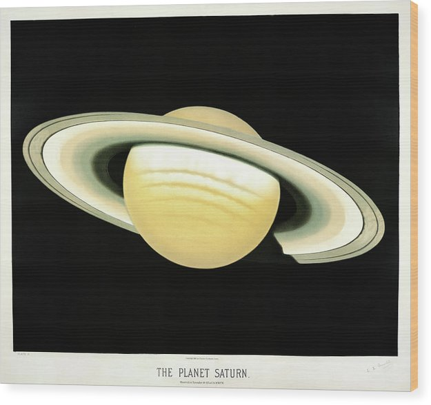 Antique Illustration of The Planet Saturn, 1881 - Wood Print from Wallasso - The Wall Art Superstore