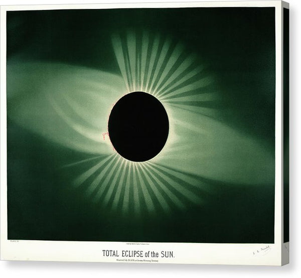Antique Illustration of Total Eclipse of The Sun, 1881 - Canvas Print from Wallasso - The Wall Art Superstore