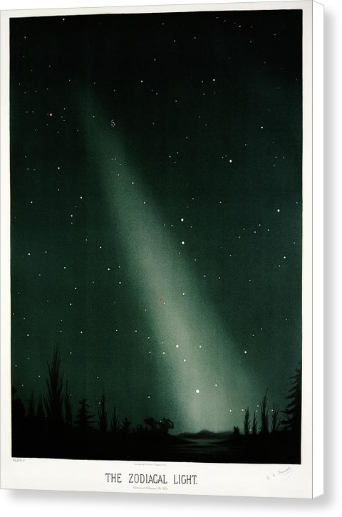 Antique Illustration of Zodiacal Light In Night Sky, 1881 - Canvas Print from Wallasso - The Wall Art Superstore