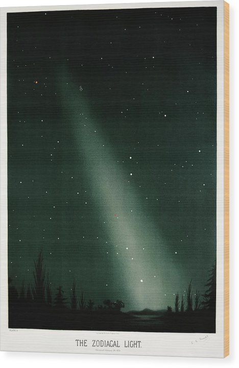 Antique Illustration of Zodiacal Light In Night Sky, 1881 - Wood Print from Wallasso - The Wall Art Superstore