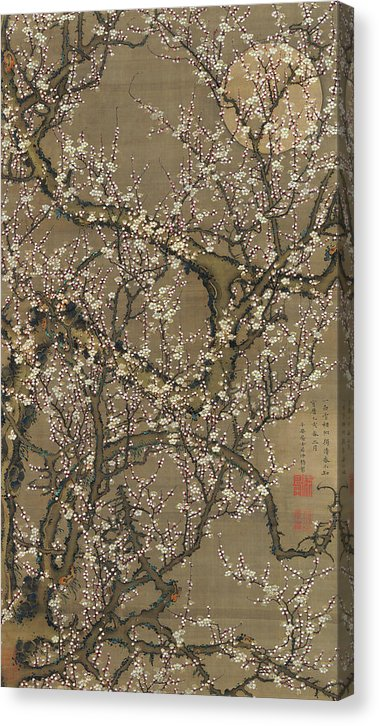 Antique Japanese White Plum Blossoms And Moon, 1755 - Canvas Print from Wallasso - The Wall Art Superstore