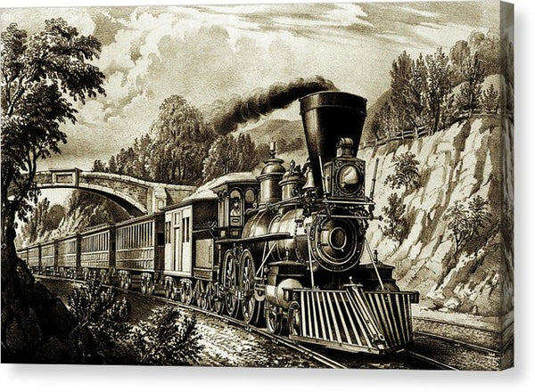 Antique Locomotive Illustration - Canvas Print from Wallasso - The Wall Art Superstore