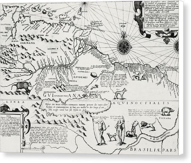 Antique Map of America From 1596 - Canvas Print from Wallasso - The Wall Art Superstore