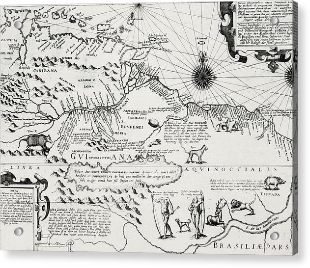 Antique Map of America From 1596 - Acrylic Print from Wallasso - The Wall Art Superstore