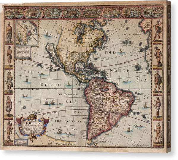 Antique Map of North and South America From 1626 - Canvas Print from Wallasso - The Wall Art Superstore