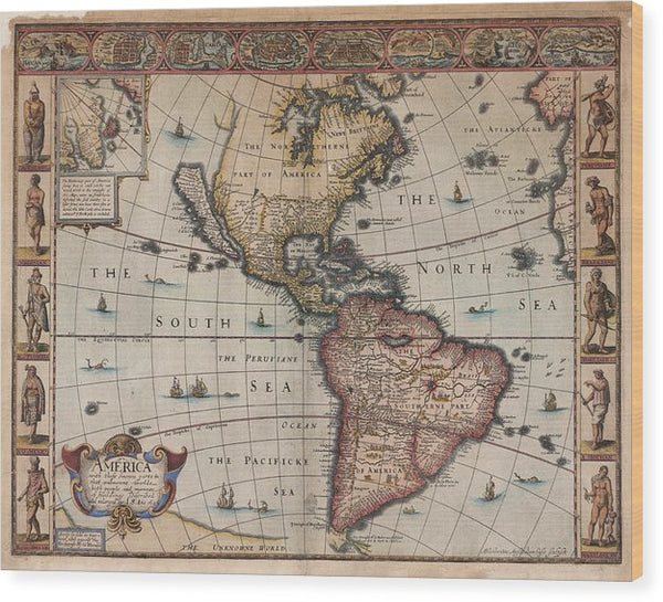 Antique Map of North and South America From 1626 - Wood Print from Wallasso - The Wall Art Superstore