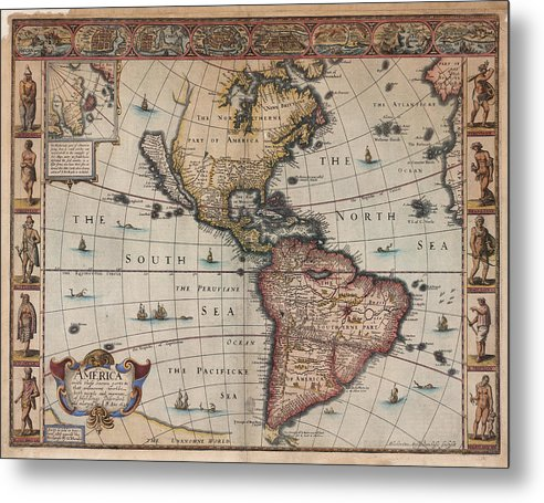 Antique Map of North and South America From 1626 - Metal Print from Wallasso - The Wall Art Superstore