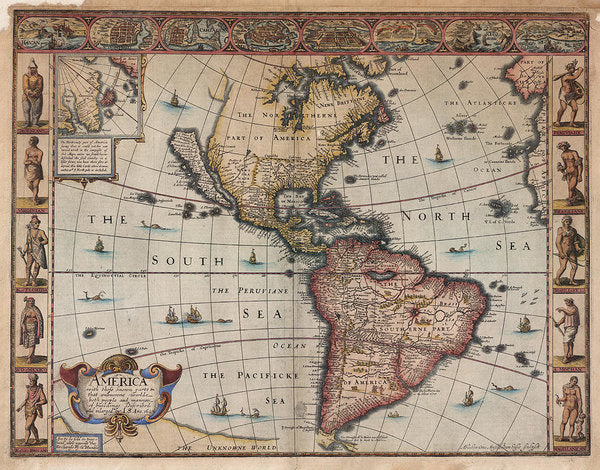 Antique Map of North and South America From 1626 - Art Print from Wallasso - The Wall Art Superstore