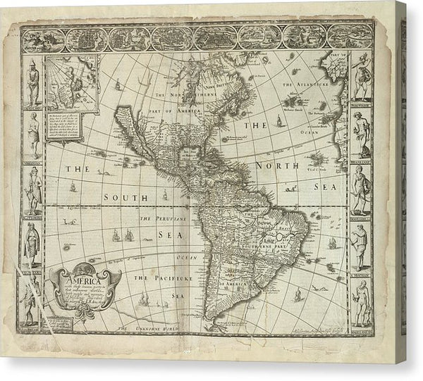 Antique Map of The Americas From 1626 - Canvas Print from Wallasso - The Wall Art Superstore