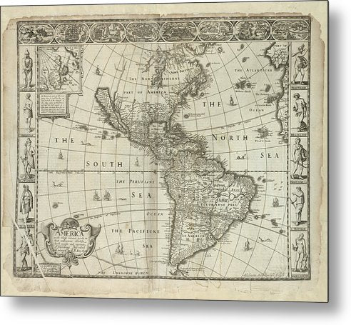 Antique Map of The Americas From 1626 - Metal Print from Wallasso - The Wall Art Superstore