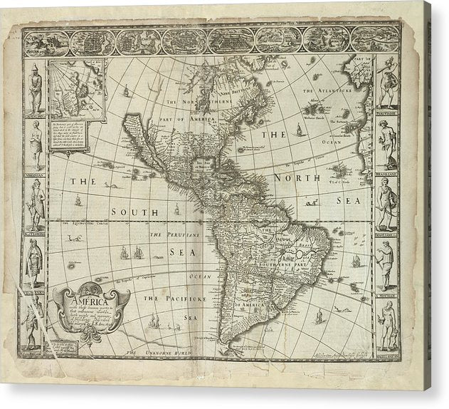 Antique Map of The Americas From 1626 - Acrylic Print from Wallasso - The Wall Art Superstore