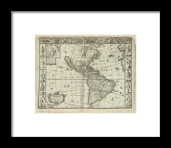 Antique Map of The Americas From 1626 - Framed Print from Wallasso - The Wall Art Superstore