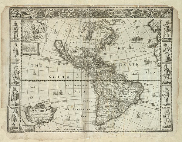 Antique Map of The Americas From 1626 - Art Print from Wallasso - The Wall Art Superstore