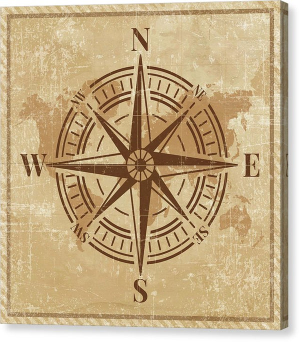 Antique Nautical Compass Design - Canvas Print from Wallasso - The Wall Art Superstore
