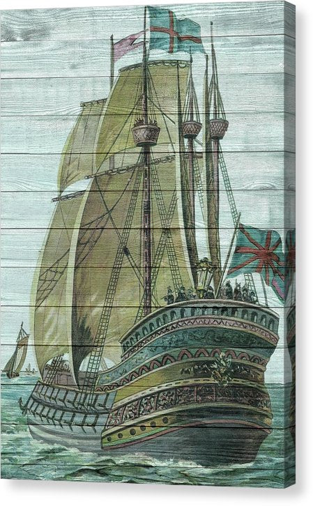 Antique Sailing Ship On Wood Plank Texture - Canvas Print from Wallasso - The Wall Art Superstore