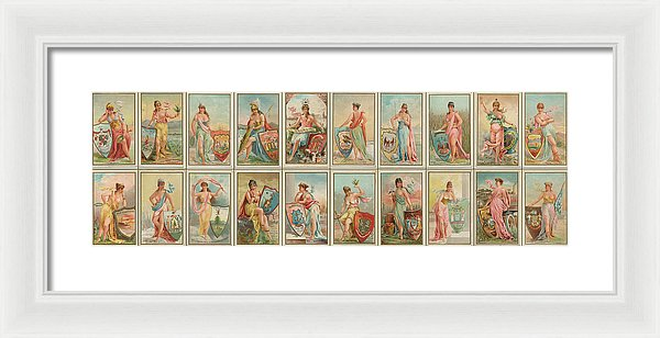 Antique American States Trading Card Collage, Panoramic - Framed Print from Wallasso - The Wall Art Superstore