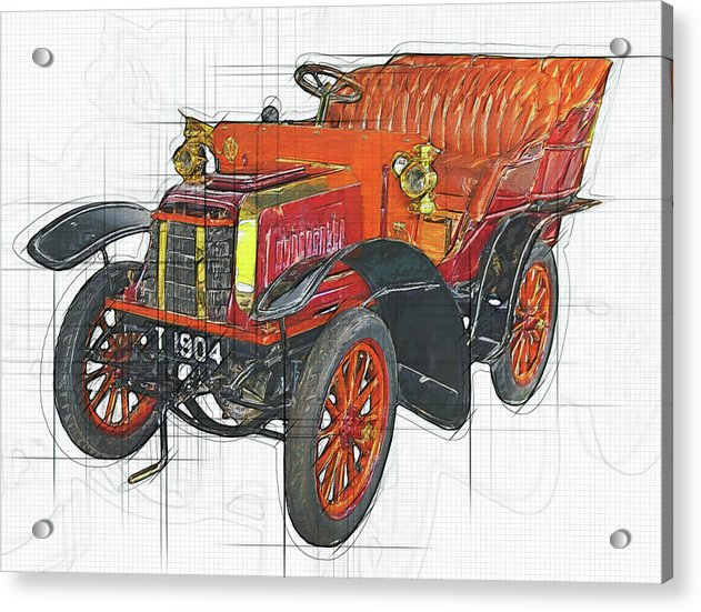 Antique Steam Car Drawing - Acrylic Print from Wallasso - The Wall Art Superstore
