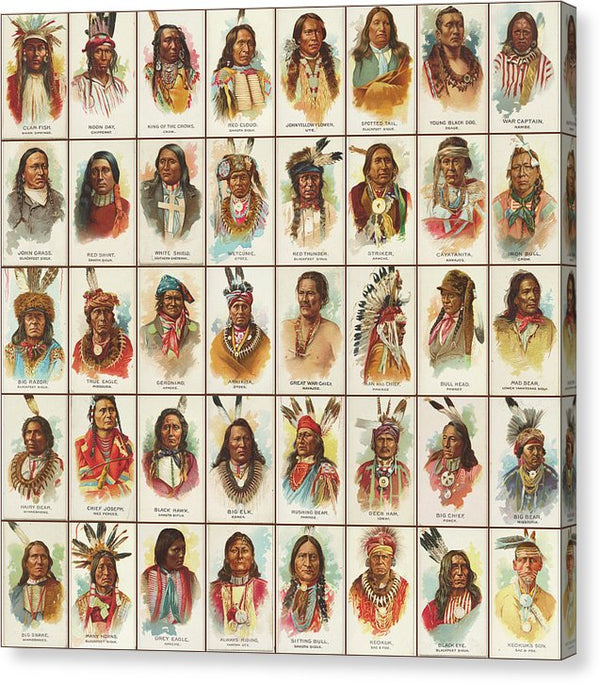 Antique Tobacco Card Native American Indians Collage - Canvas Print from Wallasso - The Wall Art Superstore