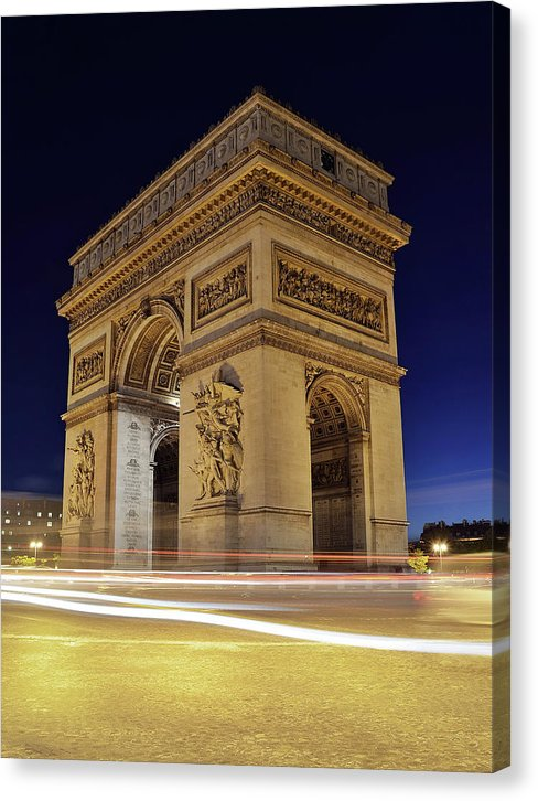 Arc De Triomphe At Night In Paris - Canvas Print from Wallasso - The Wall Art Superstore