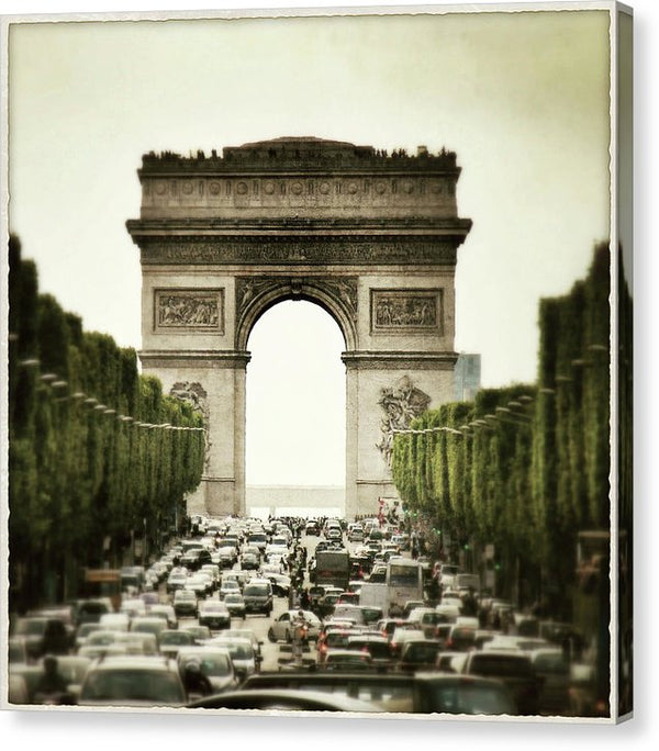 Arc De Triomphe With Heavy Traffic - Canvas Print from Wallasso - The Wall Art Superstore
