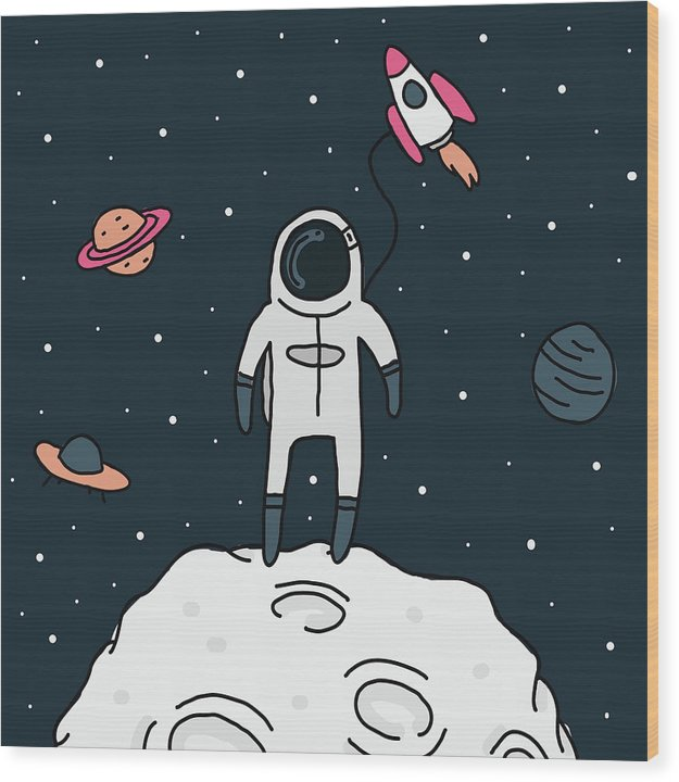 Astronaut Doodle For Kids - Wood Print from Wallasso - The Wall Art Superstore