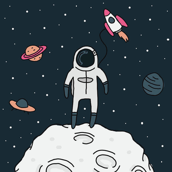 Astronaut Doodle For Kids - Art Print from Wallasso - The Wall Art Superstore