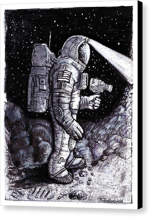 Astronaut Explorer Sketch - Canvas Print from Wallasso - The Wall Art Superstore