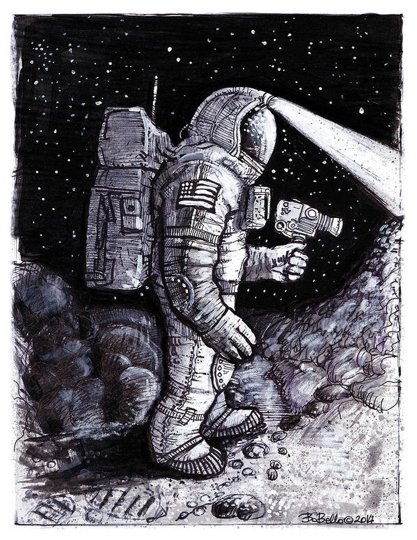 Astronaut Explorer Sketch - Art Print from Wallasso - The Wall Art Superstore