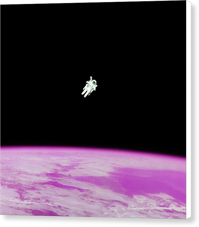 Astronaut Floating High Above Pink Pop Art Planet Earth - Canvas Print from Wallasso - The Wall Art Superstore