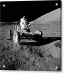 Astronaut In Lunar Roving Vehicle, Black and White - Acrylic Print from Wallasso - The Wall Art Superstore