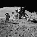 Lunar Landing Astronaut Saluting American Flag, Black and White - Art Print from Wallasso - The Wall Art Superstore