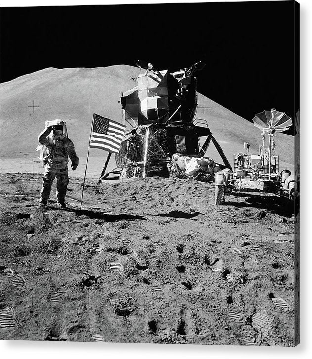 Lunar Landing Astronaut Saluting American Flag, Black and White - Acrylic Print from Wallasso - The Wall Art Superstore