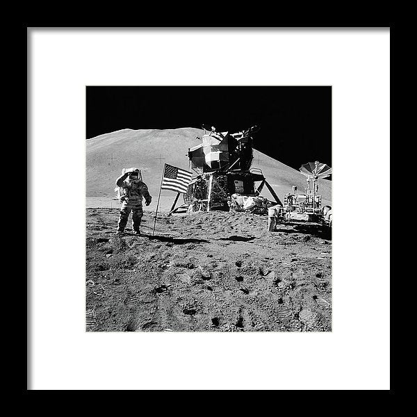 Lunar Landing Astronaut Saluting American Flag, Black and White - Framed Print from Wallasso - The Wall Art Superstore