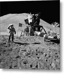Lunar Landing Astronaut Saluting American Flag, Black and White - Metal Print from Wallasso - The Wall Art Superstore