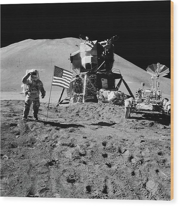 Lunar Landing Astronaut Saluting American Flag, Black and White - Wood Print from Wallasso - The Wall Art Superstore