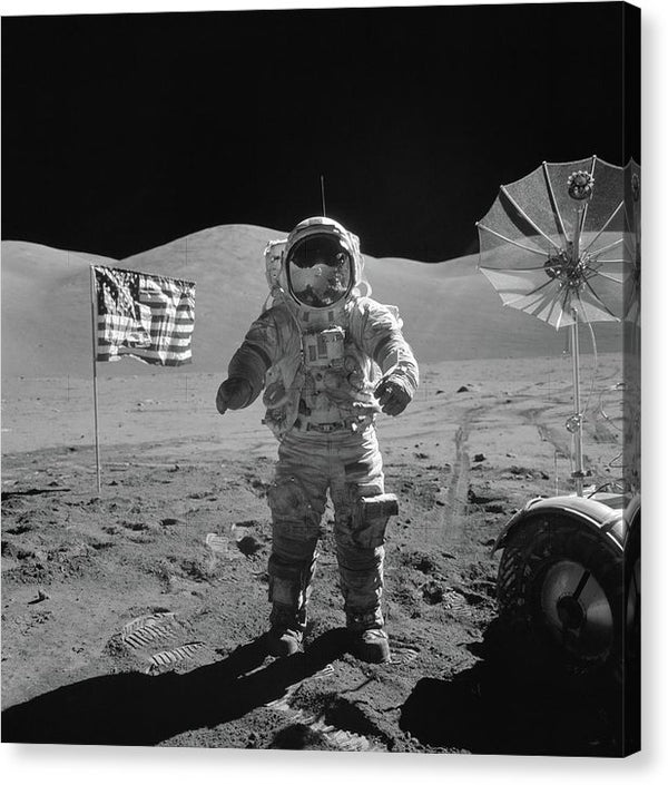 Astronaut On Moon With American Flag, Black and White - Canvas Print from Wallasso - The Wall Art Superstore