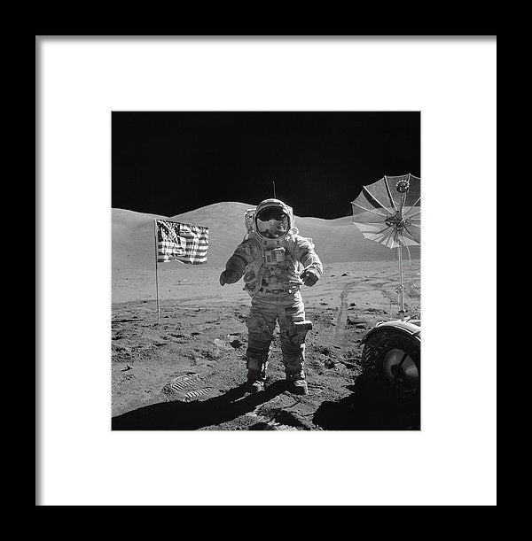Astronaut On Moon With American Flag, Black and White - Framed Print from Wallasso - The Wall Art Superstore