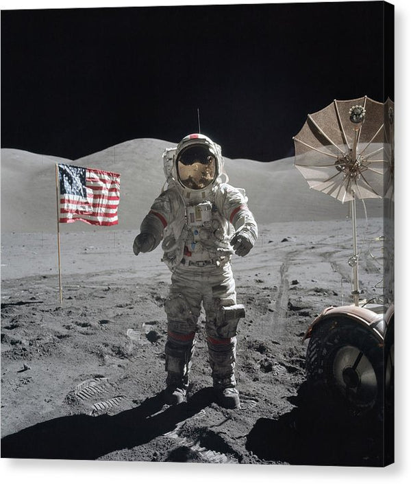 Astronaut On Moon With American Flag - Canvas Print from Wallasso - The Wall Art Superstore