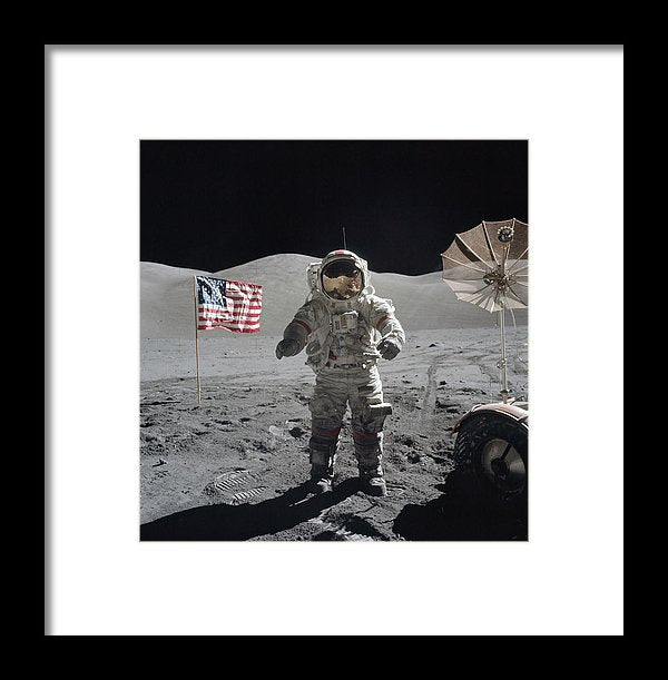 Astronaut On Moon With American Flag - Framed Print from Wallasso - The Wall Art Superstore