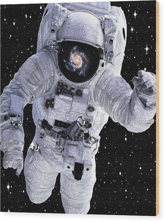 Astronaut With Galaxy Reflected In Helmet - Wood Print from Wallasso - The Wall Art Superstore