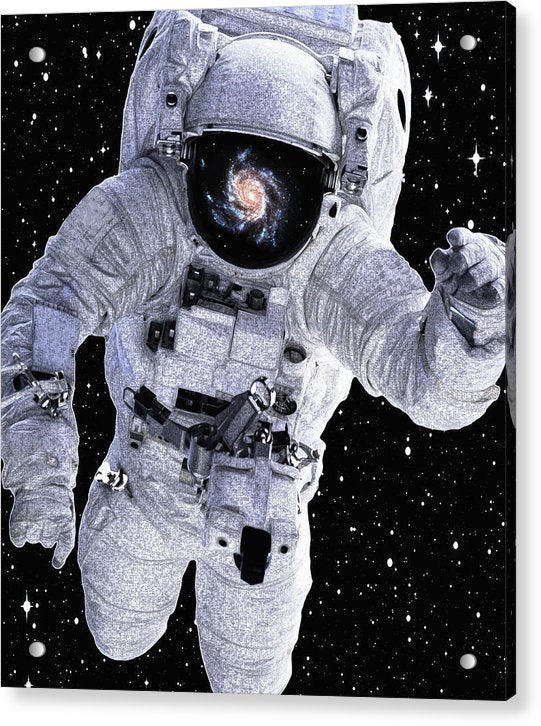 Astronaut With Galaxy Reflected In Helmet - Acrylic Print from Wallasso - The Wall Art Superstore