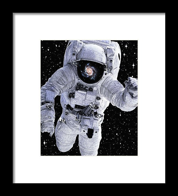 Astronaut With Galaxy Reflected In Helmet - Framed Print from Wallasso - The Wall Art Superstore